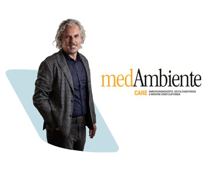 Ein Bild von Lichtplaner Frank Nowicki und dem Logo der Zeitung medAmbiente care.